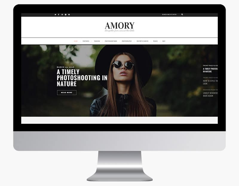 Amory is a modern and lovable WordPress theme.